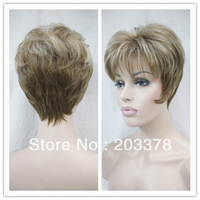 2014 New Fashion Light Brown and Pale blonde mix Synthetic full wig Free Shipping Wholesale Price