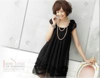 summer  korean black sweet flower  round collar maternity chiffon dress fat skirt for pregnant