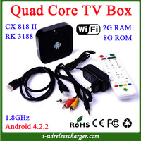 CX818 II Android 4.2.2 Quad Core Rockchip RK31881.8GHz 2GB DDR3 RAM 8GB Nand Flash Smart TV Box With WiFi,IR Remote Controller
