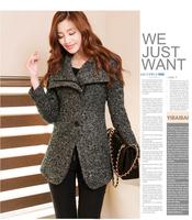 Free Shipping 2014 New Classic Middle Long Turn Down Collar Irregular Windbreaker Jacket Women Wool Blends Coat 1395