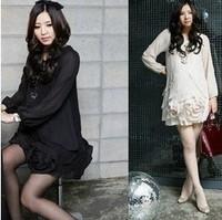 summer  korean black sweet flower long sleeves round collar maternity chiffon dress fat skirt for pregnant