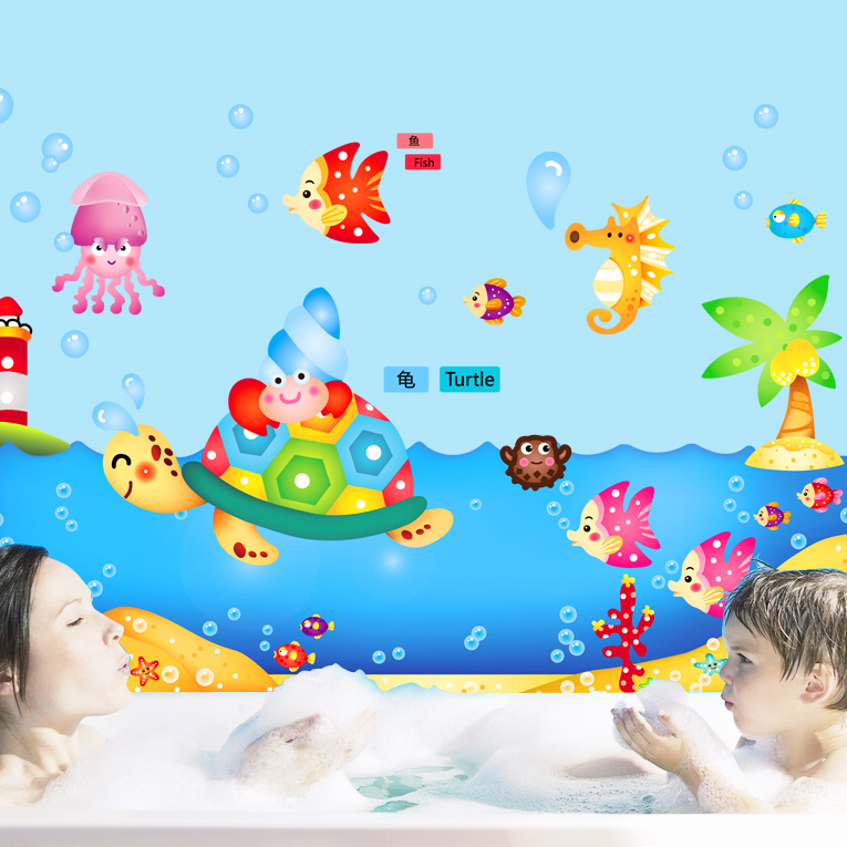 Furnishings wall stickers child real glass stickers cartoon ocean(China (Mainland))