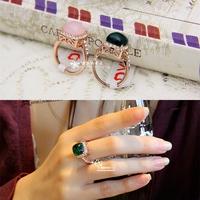Princess . fashion luxury vintage pink crystal emerald eye - side drill crystal ring