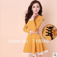 Hot Selling Adjustable Belt New Style 2014 Autumn Long Sleeve Lace Dress Winter Dresses Woman Tops Women'S Clothing Plus Size