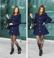 Winter new 2014 fashion brand L-4XL military style elements women's dress a breasted coat jacket retail whole sale free ship