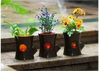 Drop Shipping 1piece Log and Squirrel Self-Watering Flower Pot Squirrel Plant Pot Self-Watering Plant Holder
