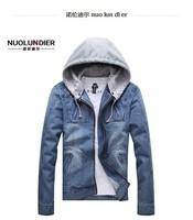 Free shipping!2014 .men denim hooded jacket.blue jean jackets