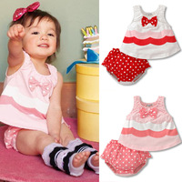 Girls Kids Bowknot Shirts Tops+Ruffled Pants 2Pcs Set Dots Toddler Clothes 6M-3Y Free shipping