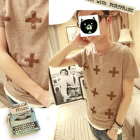 2012 men's clothing fashion brief 100% cotton male slim o-neck short-sleeve T-shirt