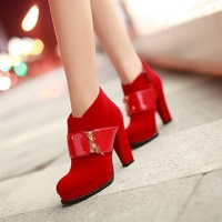 Spring marry red high-heeled shoes bridal  wedding  winter plus velvet thick heel single  female
