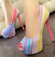 candy colorful rainbow sexy stiletto high heels open toe sandals for women party shoes woman new 2014 peep toe pumps GD140534