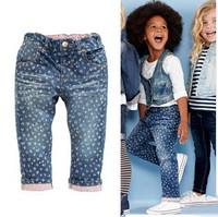 Girl Jeans Pants New 2014 UK Brand Fashion Kids Pants 100 % Cotton Denim Trousers Baby Girls Jeans European Style Children Pants