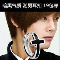 925 pure silver stud earring black personality cross ear buckle earrings single male fashion silver jewelry