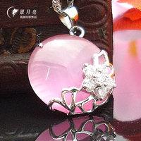 Silver Pink - eye pendant s925 pure silver necklace diamond silver