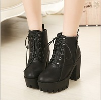 Autumn and winter fashion lacing platform thick heel platform boots female black genuine leather martin boots female high-heeled
