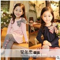 2014 spring autumn children clothing set bow t shirt+pants long-sleeve set girl's sports suit casual sportswear set 5pcs/lot