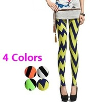 Legging for Women 2014 New Arrival Neon Color Women's Pants Fashion Waves Print High Quality Slim Leggings