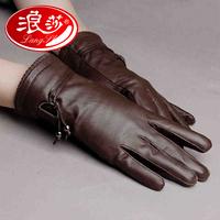 Langsha sheepskin genuine leather gloves winter thermal women's gloves plus velvet elegant leather gloves 9606