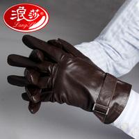 Langsha sheepskin genuine leather gloves male winter fashion leather gloves thermal repair plus velvet thickening 9107