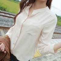 Women's Chiffon Blouse 2014 Spring New Arrival Solid Color Long-sleeve Shirt for Women Fashion Elegant  Chiffon Shirt Women