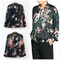 New 2014 Ladies Vintage 3D Flower Printed Jackets Brand Slim Casual Outwear Tops For Women Free Shipping 04-014