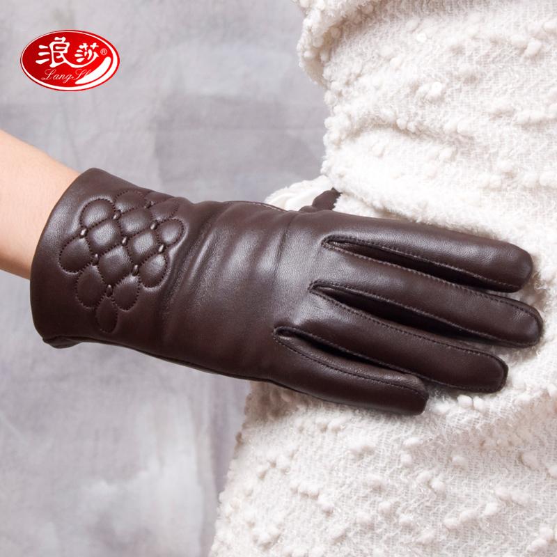 Langsha sheepskin genuine leather gloves women's gloves winter thermal print gloves winter leather gloves plus velvet 9626(China (Mainland))