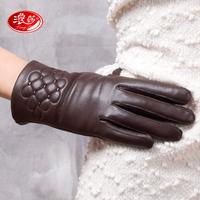 Langsha sheepskin genuine leather gloves women's gloves winter thermal print gloves winter leather gloves plus velvet 9626