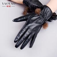 Langsha sheepskin genuine leather gloves women's quality thermal plus velvet winter leather gloves rabbit 9608