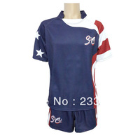 Free shipping (5 sets or more) 100% Polyester Sublimation Custom Rugby Suit/ sports jersey/ rugby jersey