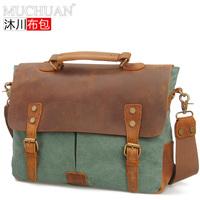 free shipping 2014 hot fashion men canvas messenger bag casual vintage canvas+cowhide genuine single shoulder bag
