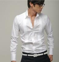 2014 new men's long-sleeved shirt Slim Korean men fashion casual groom wedding white business shirt thermal stylish men s1001