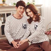 Santenic autumn new arrival 2013 polka dot casual long-sleeve lovers sleepwear 100% cotton men and women sleepwear lounge