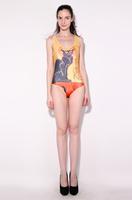 2015 New Fashion Hot sale Cat King pattern Swimsuit Suit Bikini sexy Swimwear Cat King Milk Silk Swimsuit  Free