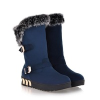 Free shipping 2013 winter boots fur one piece snow boots rabbit fur boots thickening medium-leg boots nubuck leather warm shoes
