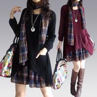 Autumn and winter  loose big size medium-long big size clothing sweater one-piece dress