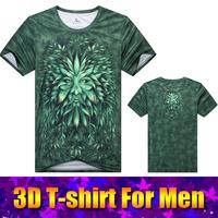 Quick-drying men short sleeve 3d man lion print t-shirt