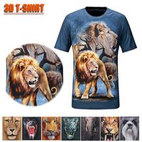 Hot-selling men's 3d outdoor quick-drying t-shirt 3d lion short-sleeve T-shirt
