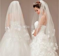 2014 Cheap price,best wedding veil,new arrival The bride wedding dress the wedding veil multi-layer 2 veil style yarn 80-100cm