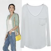 Fashion spring and autumn 2014 V-neck loose female long-sleeve t-shirt modal basic shirt