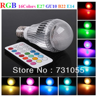 10pcs/lot 16 Colors RGB LED Lamps 3W GU10 E27 E14 B22 Colorful Light LED Globe Lights Bulbs Lamps with IR Remote Control