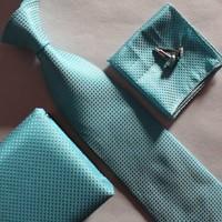 Beautiful necktie set green checkers pocket handkerchief cufflink with ties box