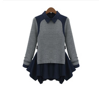 new 2014 Fashion women's fashion long-sleeve knitted colorant match slim pullover sweater 5579