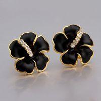 VGE635 Fashion Jewelry Luxury Black Enamel Flower 18K Yellow Gold Plated Stud Earrings Brincos for women wholesale