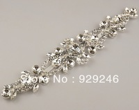 free shipping 6*25.5cm silver clear crystal rhinestone applique silver plating evening dress fur coat costume sewing decoration
