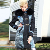 Blessedly2014 crocodile pattern fabric kolkatan 's large fur collar luxury down coat female EMS free shipping