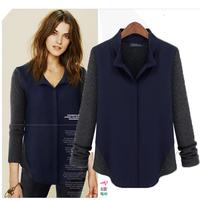 Free Shipping! 2014 Spring Autumn Women's top  fashion shirt  wool patchwork Blouse long-sleeve t shirt