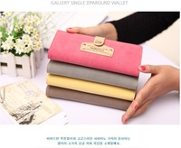 2014 Sweet nubuck leather women designer purses with change pocket wallet for credit card, coin in Korean style,Free shipping
