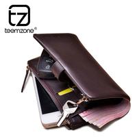 brand wallet men       First layer of  key  genuine leather multi zipper long design    car key       wallets mens   wallet