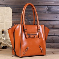 Fashion vintage motorcycle bag cowhide bag big ears handbag messenger bag folding deformation