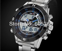 WEIDE Brand Dual Time Zone Digital Analog Sport Mens Wrist Watch Black/ White Dial Stainless Steel Band Nice Gift A478